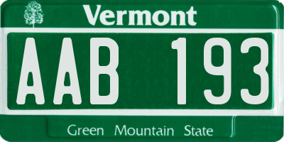 VT license plate AAB193