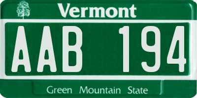 VT license plate AAB194