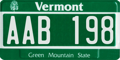 VT license plate AAB198