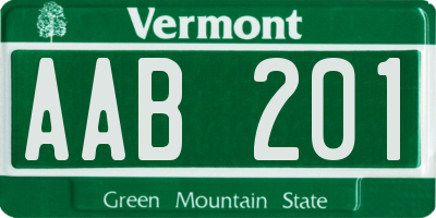 VT license plate AAB201