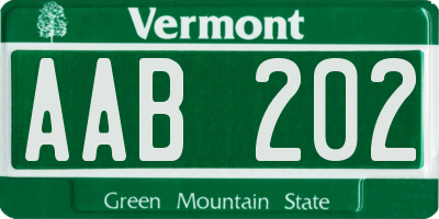 VT license plate AAB202