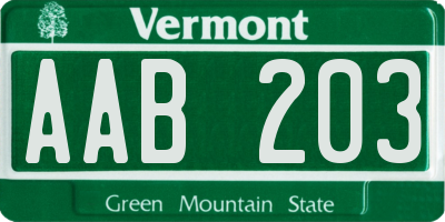 VT license plate AAB203