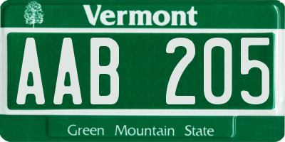 VT license plate AAB205