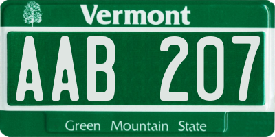 VT license plate AAB207