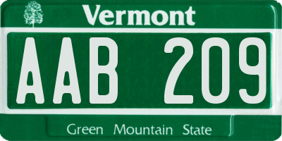 VT license plate AAB209