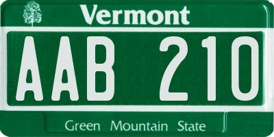 VT license plate AAB210