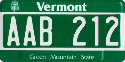 VT license plate AAB212