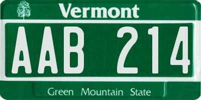 VT license plate AAB214