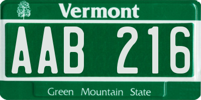 VT license plate AAB216