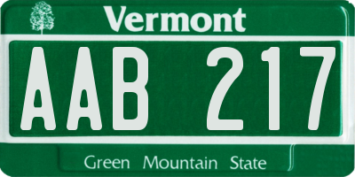VT license plate AAB217