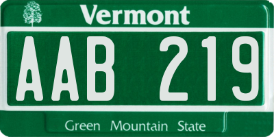 VT license plate AAB219