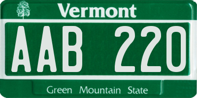 VT license plate AAB220