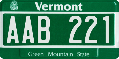 VT license plate AAB221