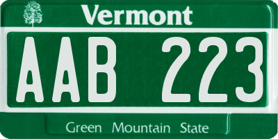 VT license plate AAB223