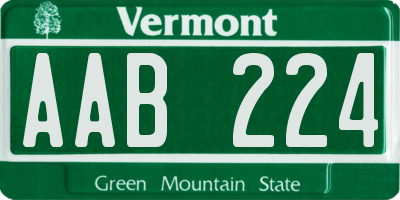 VT license plate AAB224