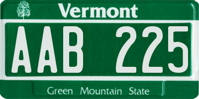 VT license plate AAB225