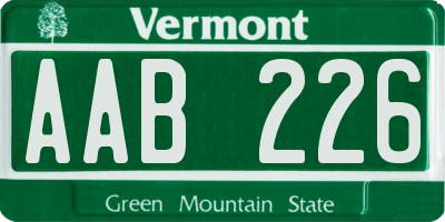 VT license plate AAB226