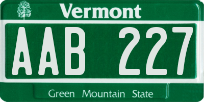 VT license plate AAB227