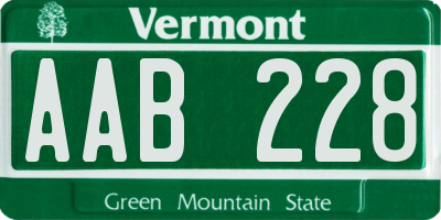 VT license plate AAB228