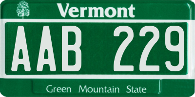 VT license plate AAB229