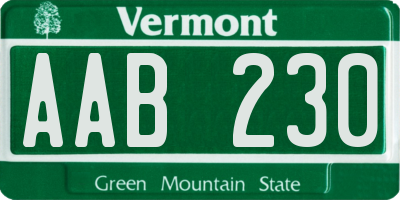 VT license plate AAB230