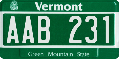 VT license plate AAB231
