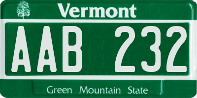 VT license plate AAB232