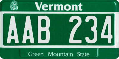 VT license plate AAB234