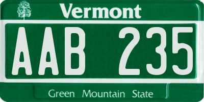 VT license plate AAB235