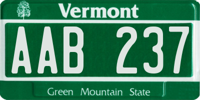 VT license plate AAB237