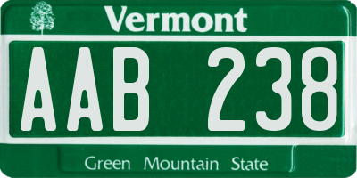 VT license plate AAB238