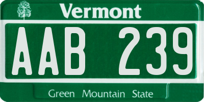 VT license plate AAB239