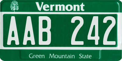 VT license plate AAB242