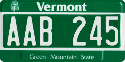 VT license plate AAB245