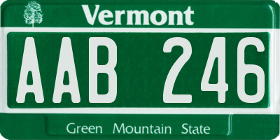 VT license plate AAB246