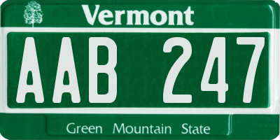 VT license plate AAB247