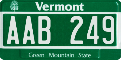 VT license plate AAB249