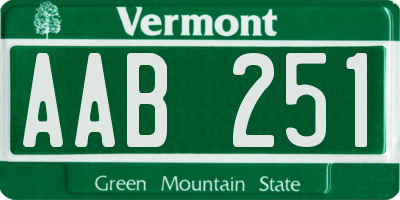 VT license plate AAB251