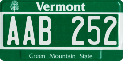 VT license plate AAB252