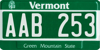 VT license plate AAB253