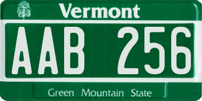VT license plate AAB256