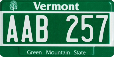VT license plate AAB257