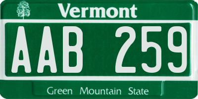 VT license plate AAB259