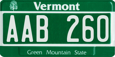 VT license plate AAB260