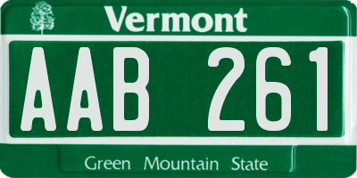 VT license plate AAB261