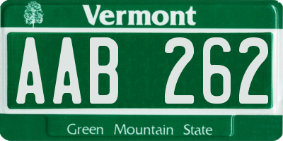 VT license plate AAB262