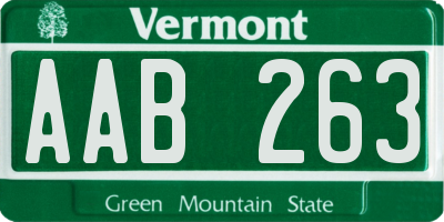 VT license plate AAB263