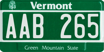 VT license plate AAB265