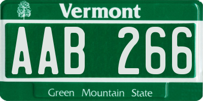 VT license plate AAB266