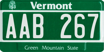 VT license plate AAB267
